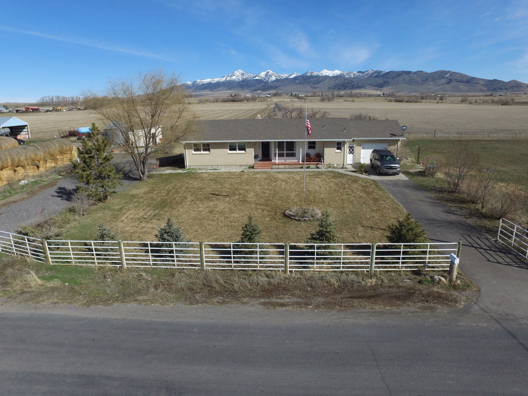 Aerial Front of the House with a Beautiful Mountain View